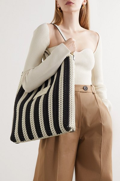 Anya Hindmarch neeson tall striped woven leather tote in black