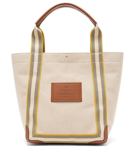 Anya Hindmarch pont small leather-trimmed canvas tote bag in white multi
