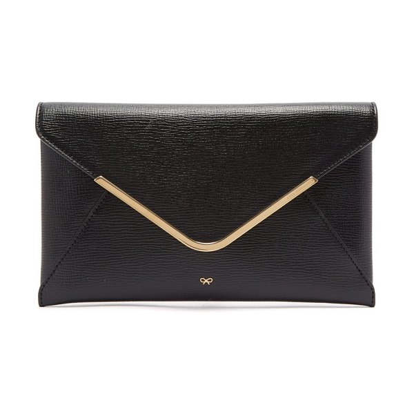 Anya Hindmarch postbox grained leather envelope clutch in black