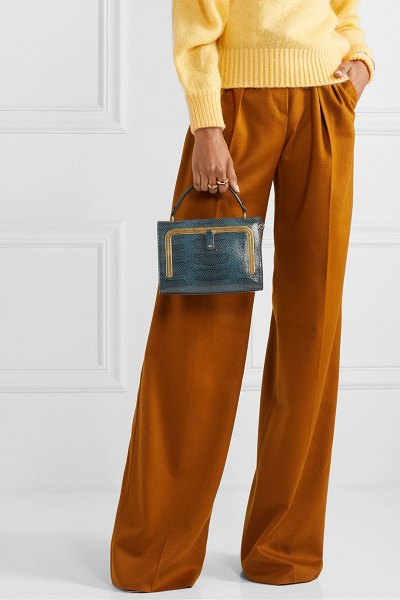 Anya Hindmarch postbox small snake-effect leather tote in storm blue