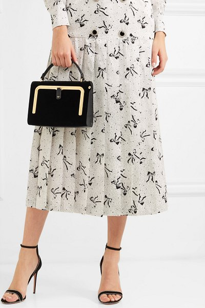 Anya Hindmarch postbox small velvet and textured-leather tote in black