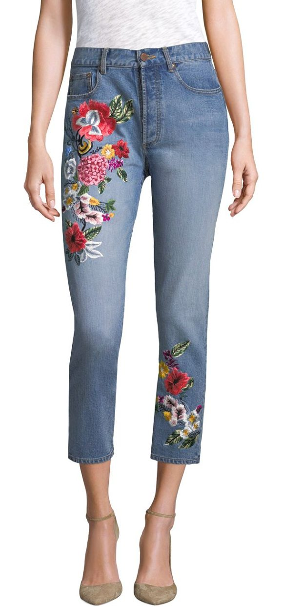 AO.LA by alice + olivia embroidered high-rise slim-fit jeans in multi - Cropped jeans with embroidered florals. Belt loops. Zip...