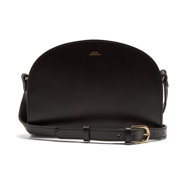 A.P.C. half moon leather cross body bag in black - A.P.C. - A.P.C.'s signature black Half-moon bag -...