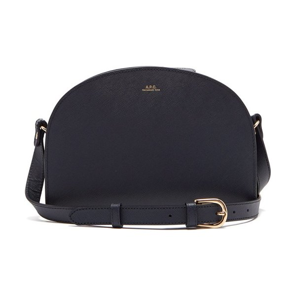 A.P.C. half moon leather cross body bag in navy