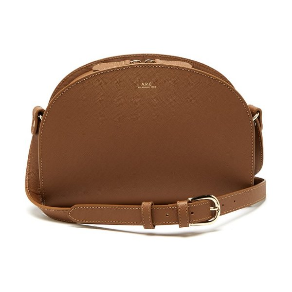A.P.C. half moon saffiano leather cross body bag in light tan - A.P.C. - Renowned for its understated chic, A.P.C.'s tan...