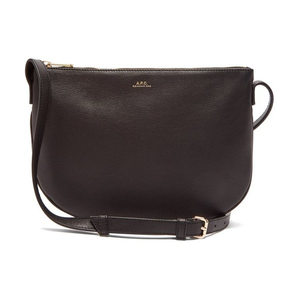 A.P.C. maelys half moon leather cross body bag in black