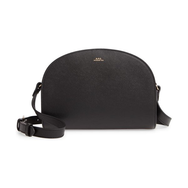 A.P.C. demi lune embossed leather crossbody bag in lzz noir