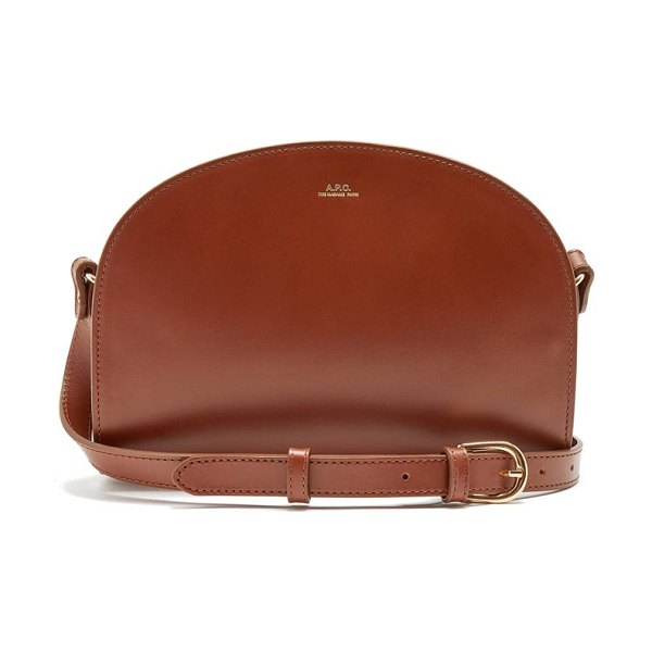 A.P.C. half-moon smooth-leather cross-body bag in brown