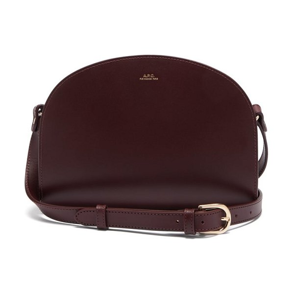 A.P.C. half-moon smooth-leather cross-body bag in burgundy