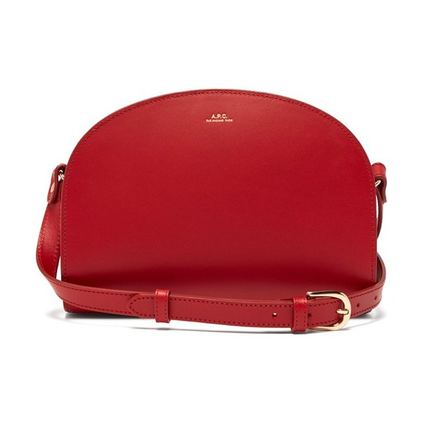 A.P.C. half moon leather cross body bag in red
