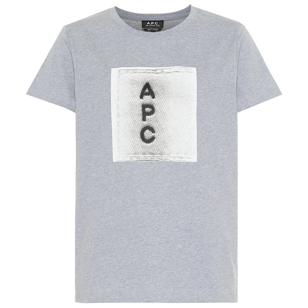 A.P.C. logo cotton t-shirt in grey