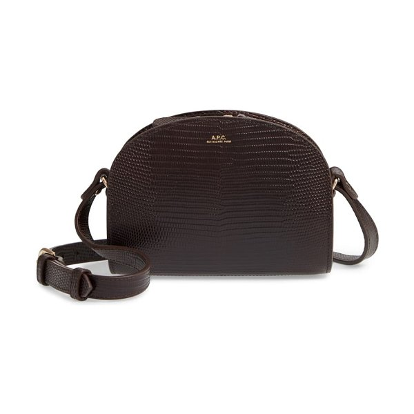 A.P.C. mini demi lune lizard embossed leather crossbody bag in cae marron fonce