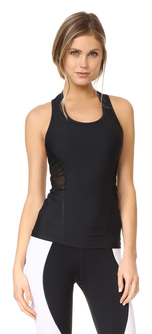 APL: Athletic Propulsion Labs athletic tank in black/black - A sleek APL: Athletic Propulsion Labs tank top with mesh...