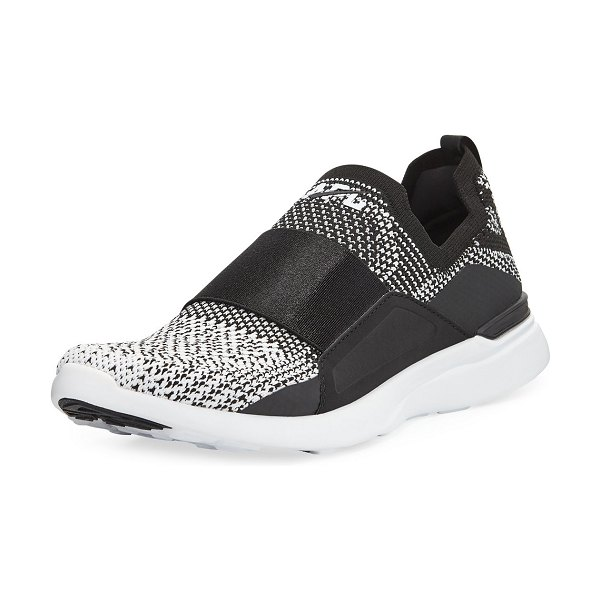 APL: Athletic Propulsion Labs Techloom Bliss Knit Slip-On Running Sneakers in black/white