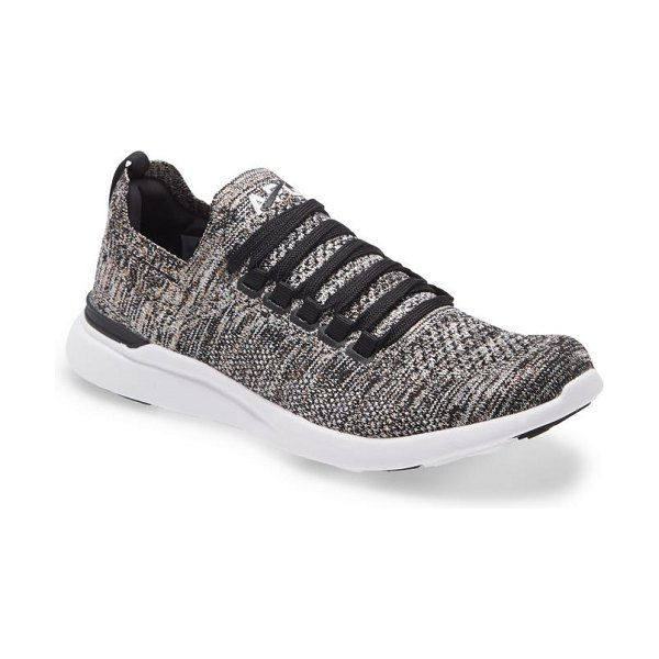 APL: Athletic Propulsion Labs techloom breeze knit running shoe in black / gold / silver