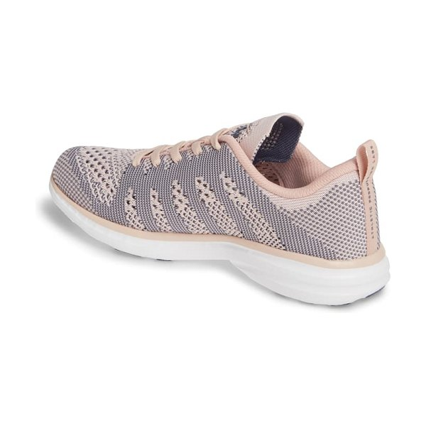APL: Athletic Propulsion Labs techloom pro knit running shoe in peach puree/ grisaille/ white
