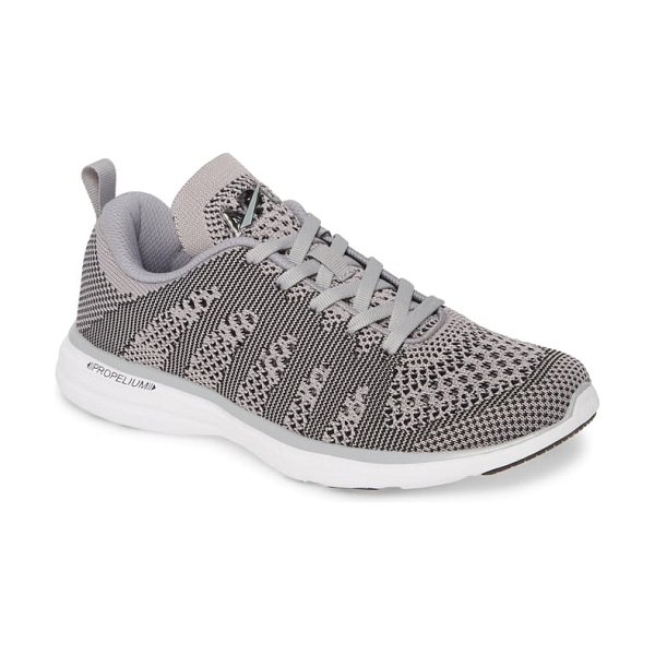 APL: Athletic Propulsion Labs techloom pro knit running shoe in cement/ white/ black
