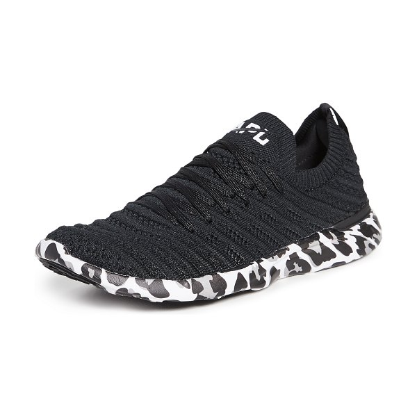 APL: Athletic Propulsion Labs techloom wave sneakers in black/white/leopard