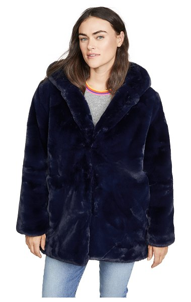 Apparis marie faux fur coat in navy blue