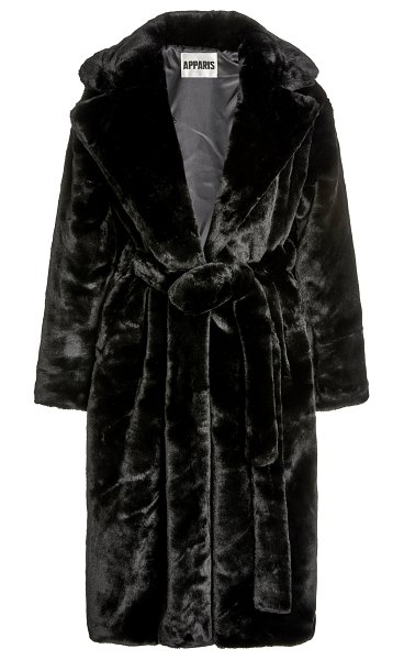 Apparis mona belted faux fur coat in black