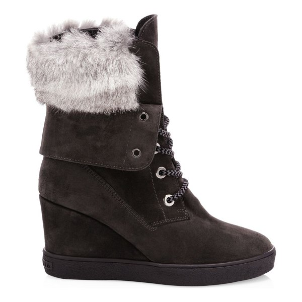 Aquatalia Cordelia Rabbit Fur-Trim & Shearling-Lined Suede Platform Wedge Boots in black