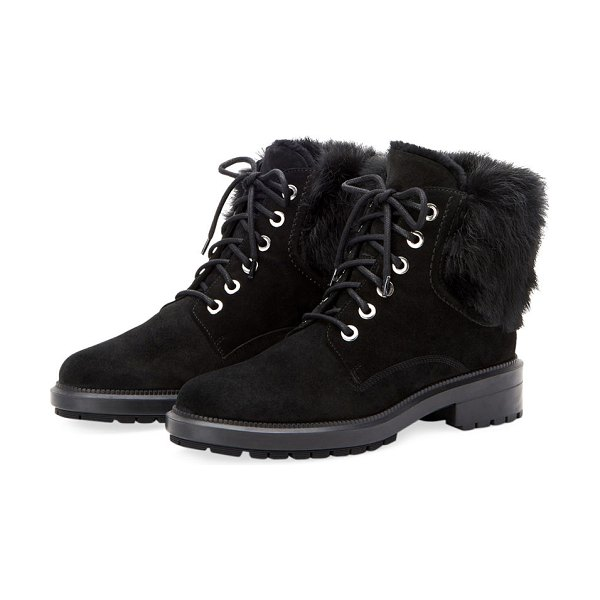0e0eceb48b0 Aquatalia Lacy Suede Combat Boots w  Fur Trim in black - Aquatalia suede boots  with