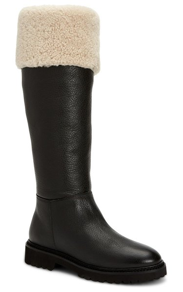 Aquatalia magnolia knee-high shearling-lined leather boots in black natural