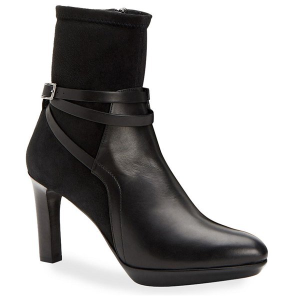 Aquatalia Ryann Leather and Suede Booties in black
