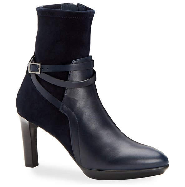 Aquatalia Ryann Leather and Suede Booties in navy