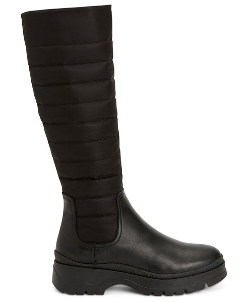 Aquatalia skyla quilted leather & nylon tall boots in black