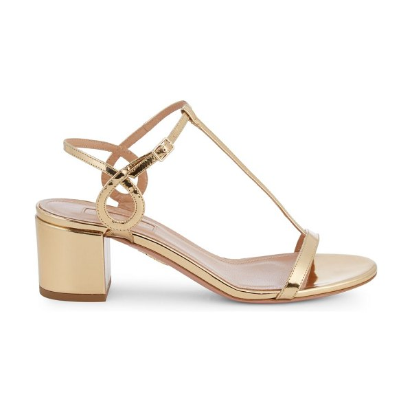 Aquazzura Almost Bare Metallic Block Heel Sandals in soft gold