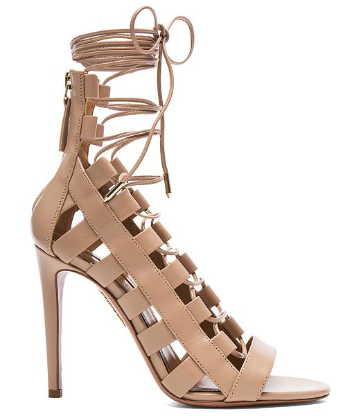 AQUAZZURA Amazon Leather Heels - Calfskin leather upper and sole.  Made in Italy.  Approx...