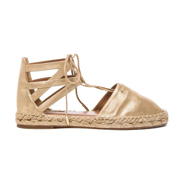 Aquazzura Belgravia Flat Suede Espadrilles in metallics - Metallic suede upper with leather sole.  Made in Spain. ...