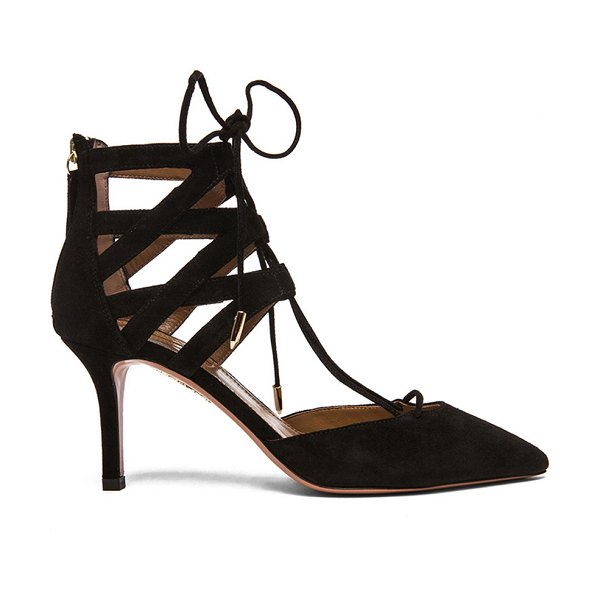 AQUAZZURA Belgravia Suede Lace Up Pumps - Suede upper with leather sole.  Made in Italy.  Approx...