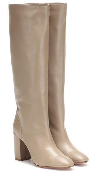 Aquazzura boogie 85 leather knee-high boots in beige