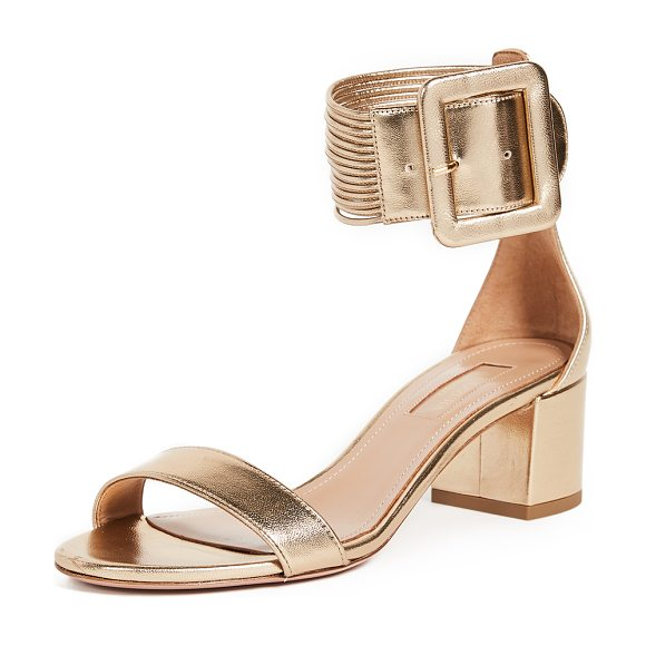 Aquazzura casablanca 50 sandals in light gold - Eye-catching Aquazzura sandals crafted in metallic...