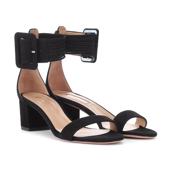 Aquazzura Casablanca 50 suede sandals in black - Crafted from soft suede in classic black, Aquazzura's...