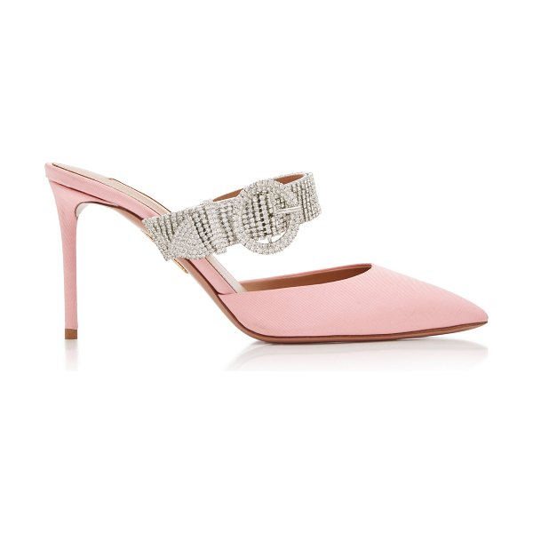 Aquazzura chain reaction crystal-embellished mules in pink