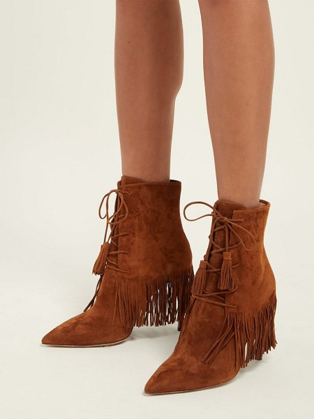 Aquazzura mustang 105 fringed suede ankle boots in tan - Aquazzura - Aquazzura's tan-brown Mustang boots will...