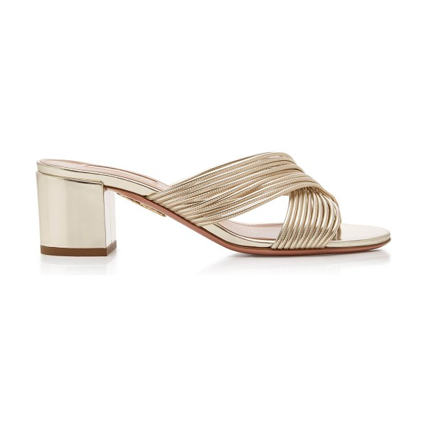 Aquazzura perugia metallic leather mules in gold