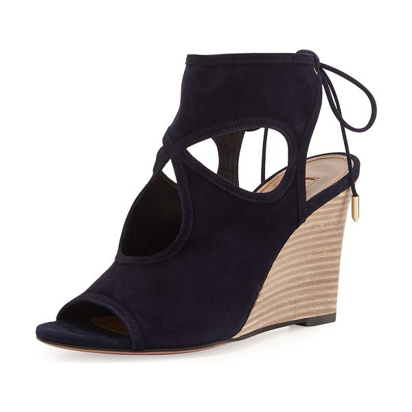 AQUAZZURA Sexy Thing Suede 85mm Wedge Sandal - ONLYATNM Only Here. Only Ours. Exclusively for You....
