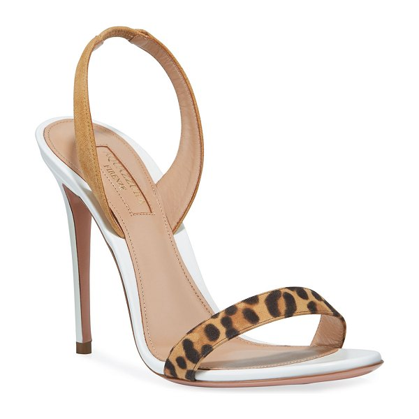 Aquazzura So Nude Leopard-Strap Slingback Sandals in white