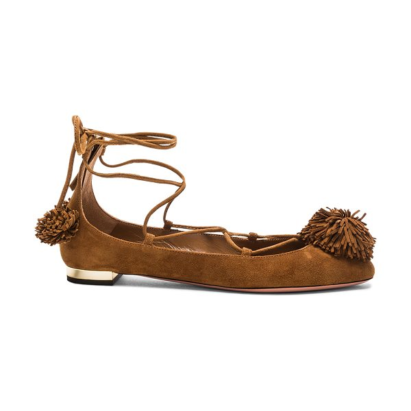 Aquazzura Sunshine Flat in brown - Suede upper with leather sole.  Made in Italy.  Approx...