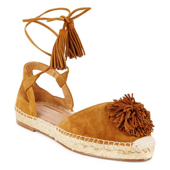 Aquazzura Sunshine Suede Espadrille in yellow - Suede espadrilles with tassel fringe details. Leather...