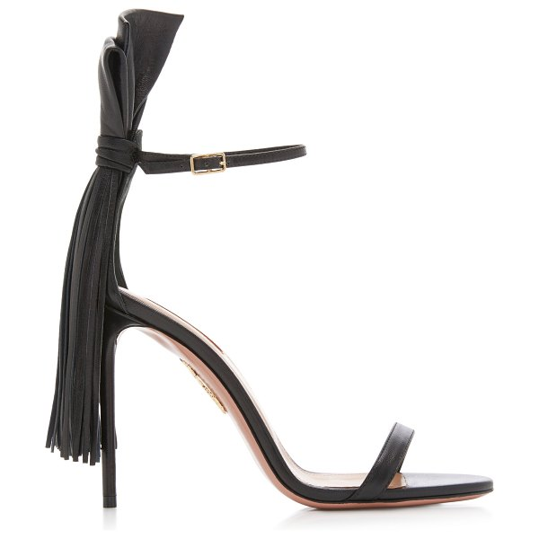 Aquazzura whip it fringed leather sandals in black