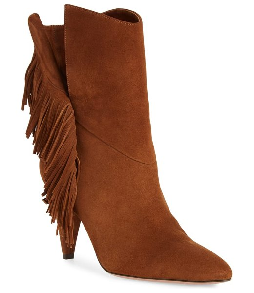 Aquazzura wild fringe almond toe bootie in cinnamon suede - A refined take on Western style, this cinnamon-hued...