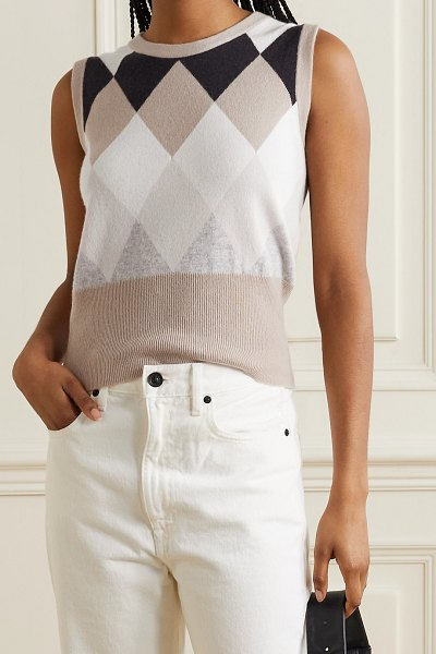 Arch4 duke of york argyle organic cashmere tank in light brown