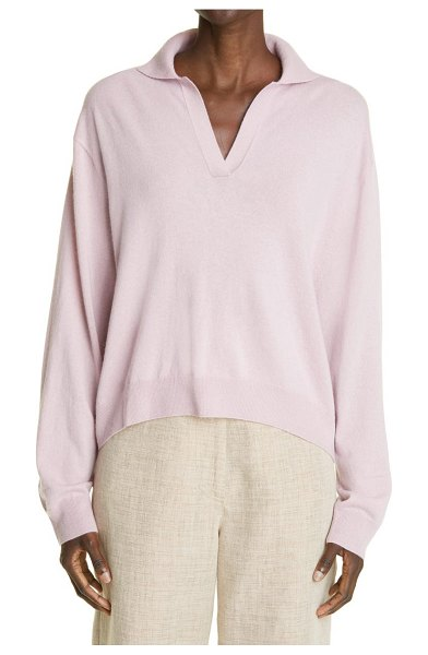 Arch4 oxford baby goat cashmere long sleeve polo in faded lilac