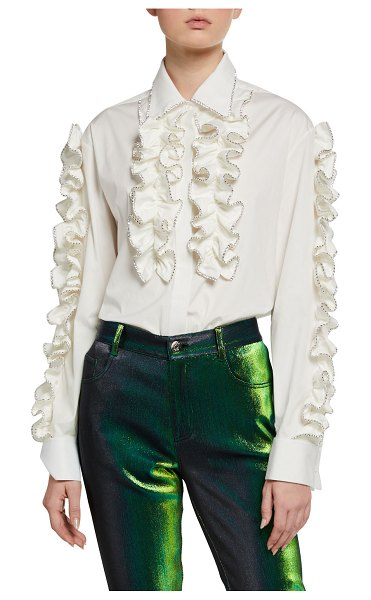 AREA Crystal-Tipped Ruffled Poplin Shirt in white