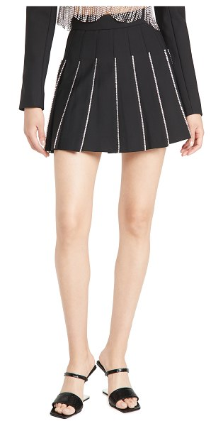AREA crystal trimmed pleated miniskirt in black